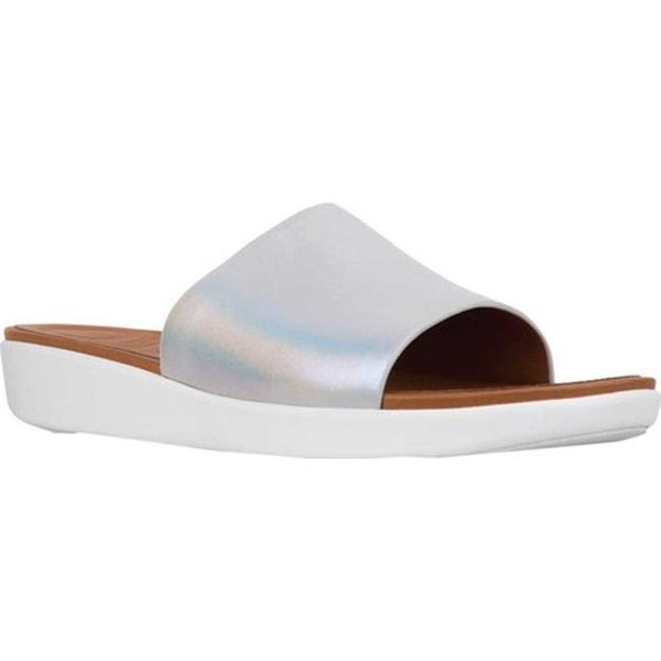 8be206581 Shop FitFlop Women s Sola Slide Silver Iridescent Metallic Leather ...