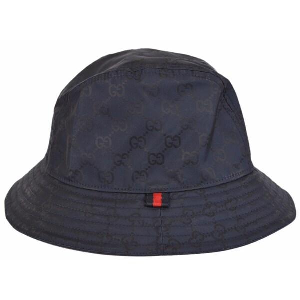 Gucci Men  x27 s 387558 BLUE GG Guccissima Nylon Bucket Rain Hat Medium 58 b106014613c