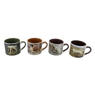 Set of 4 American Kennel Club Dog Painting Ceramic Mugs 20 Oz.
