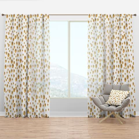 Designart 'Golden Circular Pattern II' Mid-Century Modern Curtain Panel