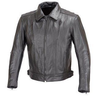 Men Motorcycle Biker Cruiser Leather Jacket 5pc Removable CE Armor Black MBJ016