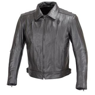 Men Motorcycle Biker Cruiser Leather Jacket 5pc Removable CE Armor Black MBJ016