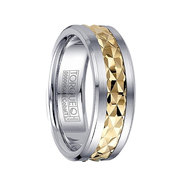 Grooved Diamond Pattern 14k Yellow Gold Inlaid Men's White Cobalt Ring by Crown Ring - 7.5mm