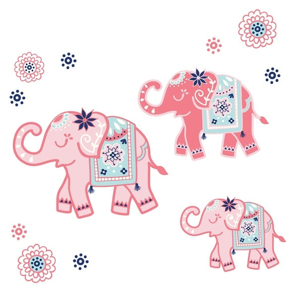 Lambs & Ivy Boho Elephant Pink/Mint/Navy Nursery/Kids Wall Decals/Stickers. Opens flyout.