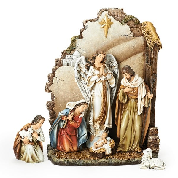 "7-Piece Joseph's Studio Nativity with Back Wall Christmas Table Top Decoration 12"" - brown"