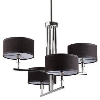 Miseno MLIT153737 4-Light Chandelier with Black Fabric Shades - Polished Nickel - n/a