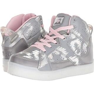 Skechers Energy Lights E-Pro Reflecti-Fab Girls' Toddler-Youth Sneaker Big Kid Silver-Pink