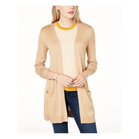 MAISON JULES Womens Beige Long Sleeve Open Cardigan Sweater Size XS