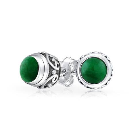 Bali Style Tiny Round Forest Green Malachite Stone Stud Earrings For Women Oxidized 925 Sterling Silver
