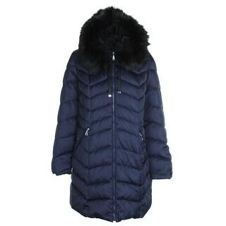 Tahari Navy Faux-Fur-Trim Hooded Down Coat XL