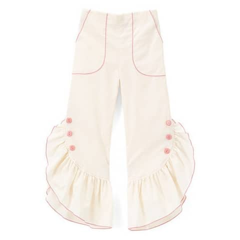 Girls Ivory Pink Ruffled Trim Button Detail Cotton Pants