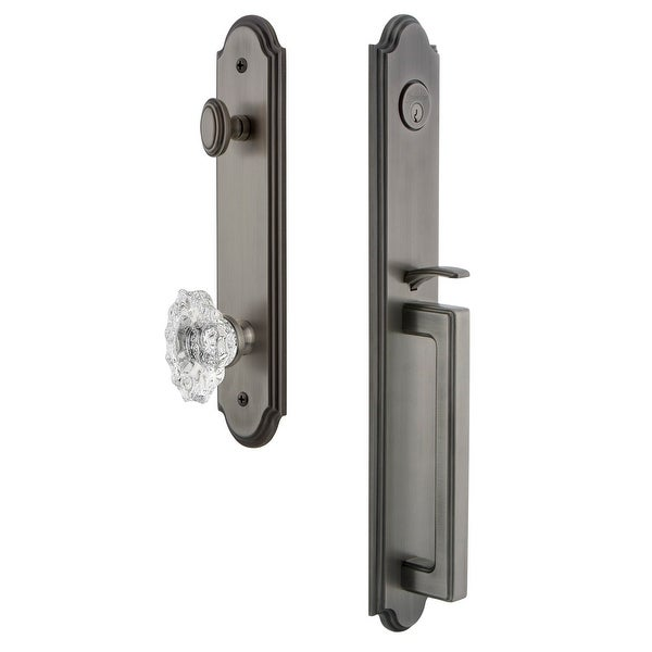 "Grandeur ARCDGRBIA_ESET_234 Arc Solid Brass Rose Keyed Entry Single Cylinder Full Plate ""D"" Grip Handleset with Biarritz"
