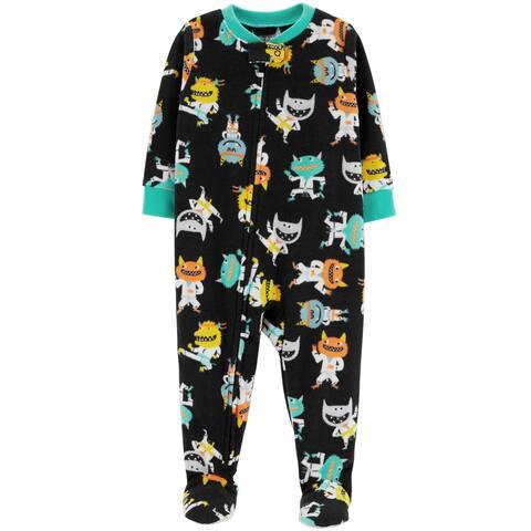Carter's Little Boys' 1-Piece Monster Fleece PJs, Black, Monsters