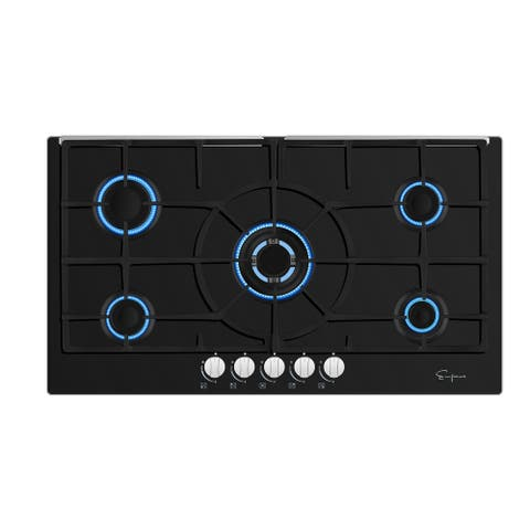 Empava 36 in Black Tempered Glass 5 Italy Imported Sabaf Burners Stove Tops Gas Cooktop