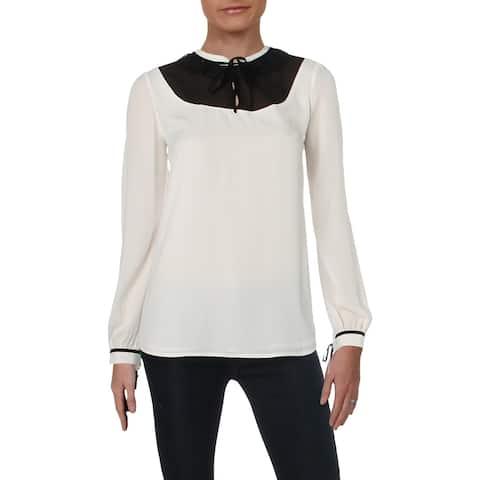 Karl Lagerfeld Womens Blouse Lace Trim Tie Sleeve