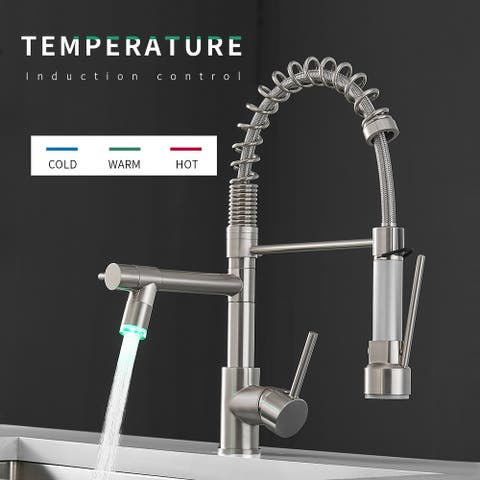 Dual Head Copper Kitchen Faucet with LED Light - 8*2.4*16.1