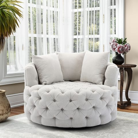 Modern Swivel Accent Sofa Barrel Chair with Pillows for Living Room
