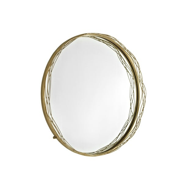 "Delacora WE-BD32NST Nest 32"" Diameter Circular Beveled Metal Framed Wall Mounted Accent Mirror - Gold"