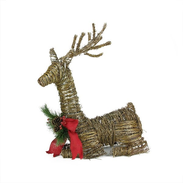 30 lighted rattan reindeer with red bow and pine cones christmas yard art decoration