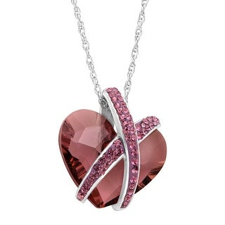 Crystaluxe Wrapped Heart Pendant with Purple Swarovski Crystals in Sterling Silver