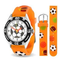 Bling Jewelry Orange Analog Multi Sports Kids Watch Stainless Steel Back