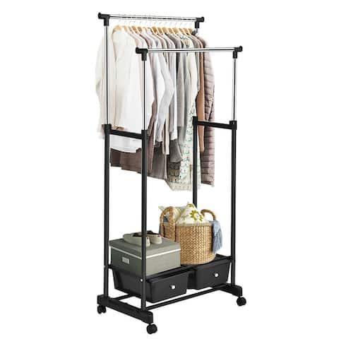 Costway Double Rod Adjustable Clothes Hanger Garment Rack Organizer
