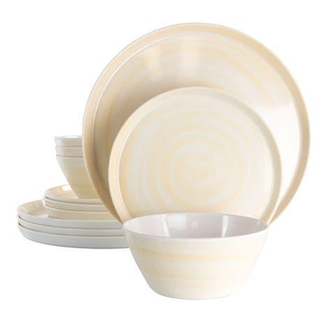 Elama Crafted Clay 12 pc Lightweight Melamine Dinnerware Set