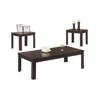 Monarch Specialties 3 piece occasional table set V 3 Piece Table Set with Coffee Table and Side Tables - Cappuccino