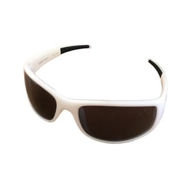 Levi Sunglass LS152 2 Mens White Rectangle Plastic, Solid Smoke Lens - Medium