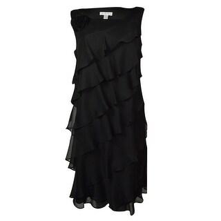 London Times Women's Asymmetrical Tiered Chiffon Rosette Dress