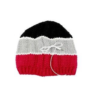 Urban Pipeline Winter Knit Beanie Hat Detachable 3.5mm Headphones Red Black - One size