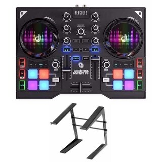 Hercules Instinct P8 ultra-mobile USB DJ Controller with Laptop Stand