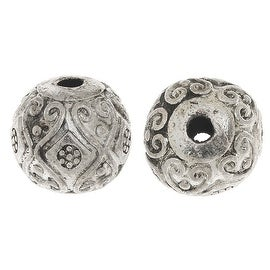 Lead-Free Pewter Beads, Round W/ Victorian Design 12mm, 6 Pcs., Antiqued Silver