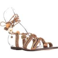 Sam Edelman Womens Graciela Leather Open Toe Ankle Wrap Slide Flats