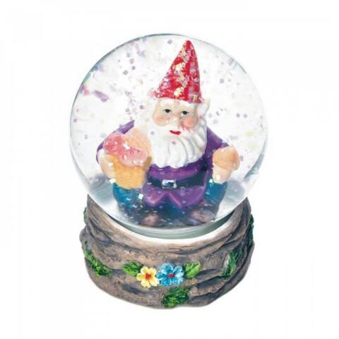 Set of 2 Happy Garden Gnome Mini Snow Globes