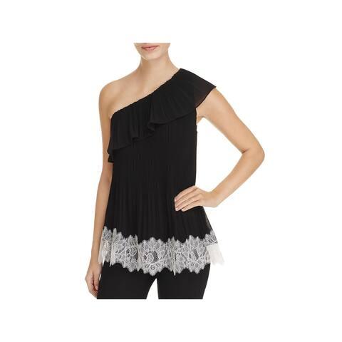 MICHAEL Michael Kors Womens Blouse Chiffon Lace Trim