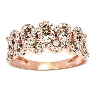 Prism Jewel 0.72Ct Brown Natural Diamond & Diamond Half Eternity Ring - White G-H