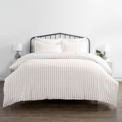 Merit Linens Premium Ultra Soft 3-piece Rugged Stripes Duvet Cover Set