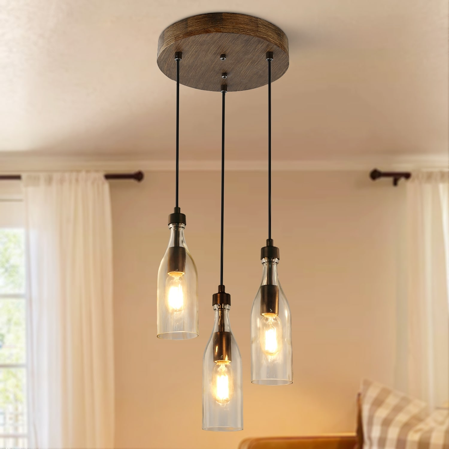Shop Farmhouse 3 Lights Kitchen Island Lighting Pendant Chandelier Ceiling Lamp D11 X H11 2 Overstock 27621032