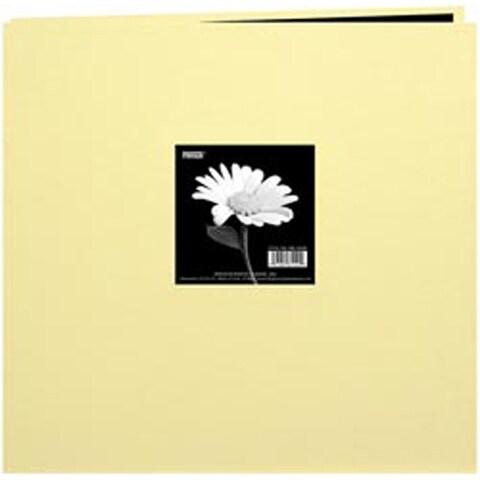 "Soft Yellow - Book Cloth Cover Post Bound Album 12""X12"""