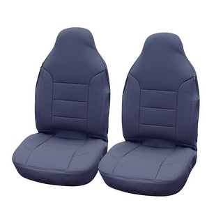 KM WORLD Elegant Premium Leather Car Front Bucket Seat Covers Solid Gray / Grey - KMSC-GR-002 High Back ( 2 PC Set )