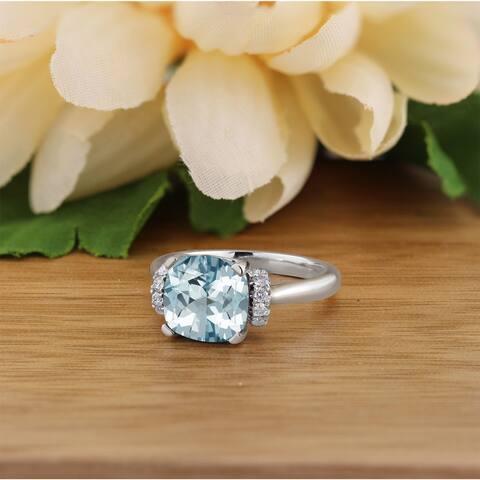 Auriya Unique 2ct Cushion-cut Aquamarine and Diamond Engagement Ring 1/5cttw 14k Gold