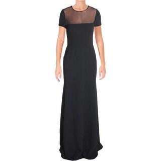 Vera Wang Womens Evening Dress Crepe Mesh Inset