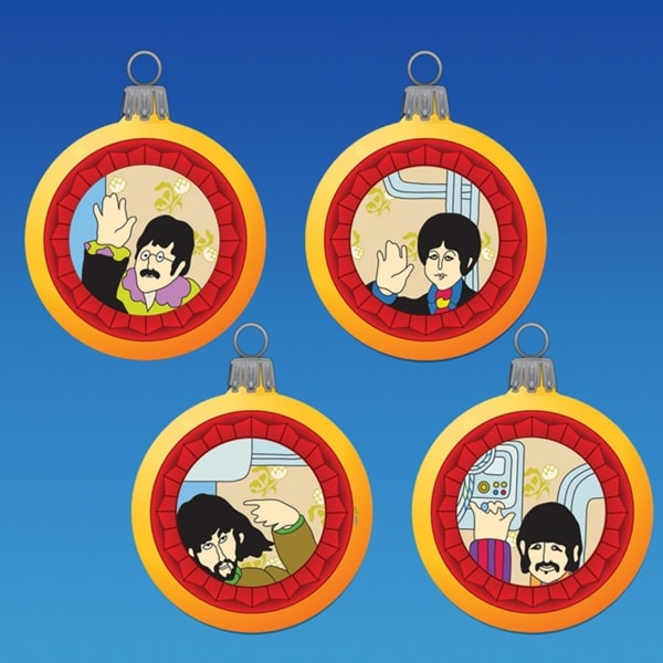 Set of 4 The Beatles Yellow Submarine Reflector Glass Ball Christmas Ornaments