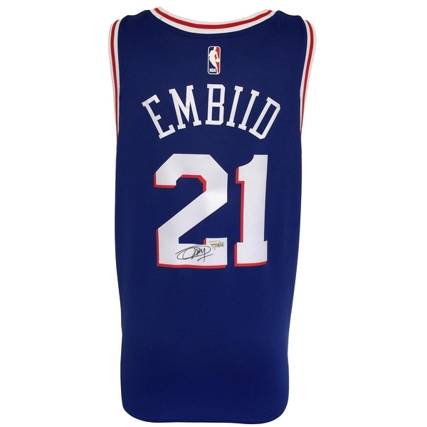 pretty nice ae906 90e29 Joel Embiid Signed Philadelphia 76ers Blue Nike Swingman Jersey Fanatics