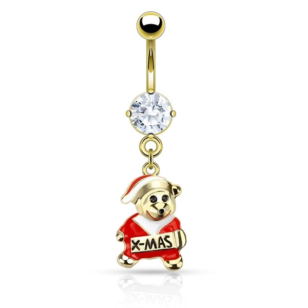 316L Surgical Steel Gold Plated Enamel Santa Bear Christmas Navel Belly Button Ring