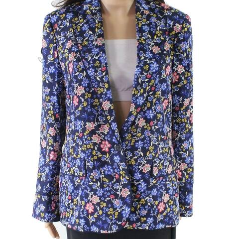 Lauren by Ralph Lauren Women Blue Size 2 Floral-Print One-Button Blazer