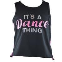 Reflectionz Girls Black Pink Dance Thing Racer Back Tank Top