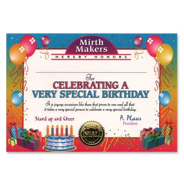 Pack of 6 ''Very Special Birthday'' Certificates 5'' x 7'' - N/A