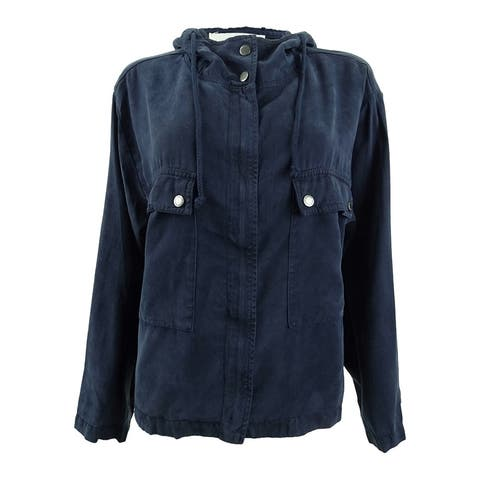 Two by Vince Camuto Women's Hooded Bell-Sleeve Jacket (M, Black Iris) - Black Iris - M